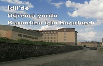İdil'de Öğrenci yurdu Karantina için hazırlandı