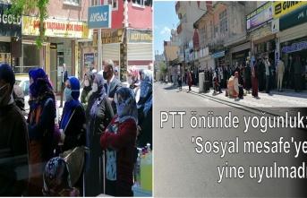 PTT önünde yoğunluk: 'Sosyal mesafe'ye yine uyulmadı