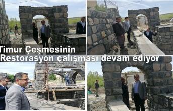 Timur Çeşmesinin Restorasyon çalışması devam ediyor