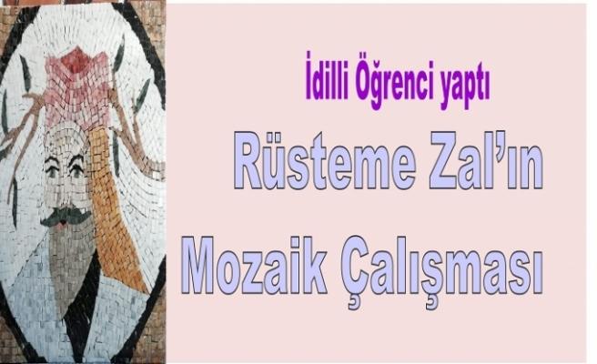 İdilli Öğrencinin 'Rüsteme Zal'ın' mozaik çalışması