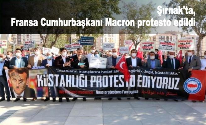 Şırnak'ta, Fransa Cumhurbaşkanı Macron protesto edildi