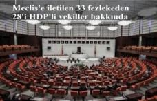 Meclis'e iletilen 33 fezlekeden 28'i HDP'li vekiller hakkında