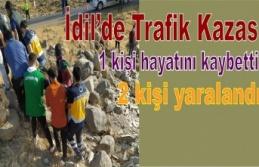 İdil'de trafik kazası 1 kişi hayatını kaybetti, 2 kişi yaralandı