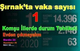Şırnak'ta vaka sayısı 1 komşu illerde durum...
