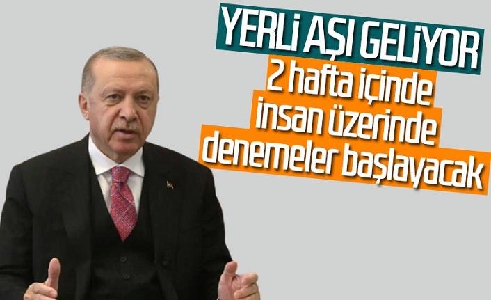 Cumhurbaşkanı Erdoğan: Yerli aşıda 2 hafta içinde insan deneylerine başlanacak